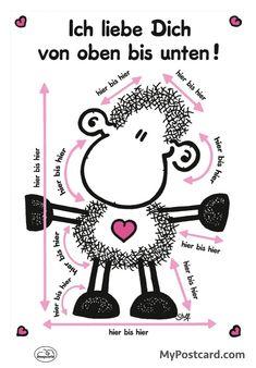 """sheepworld-Postkarte """"Ich liebe dich von oben bis unten"""""""