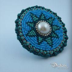 Beaded Ring medallion for ATS tribal fusion от DrakarisHandMade