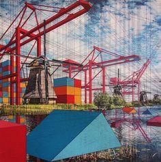 Kunstenaar Mary Iverson heeft een opvallende eigen stijl. Op haar schilderijen ontdek je vormen die doen denken aan zeecontainers.