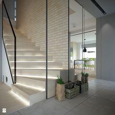 Znalezione obrazy dla zapytania nowoczesne drzwi z kołatka Interior Exterior, Home Living Room, Divider, Sweet Home, New Homes, Stairs, House, Furniture, Design