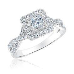Ecoura Bridal Collection Princess Diamond Halo Engagement Ring 7/8ctw - Item 19534205 | REEDS Jewelers