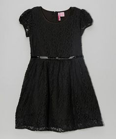 Take a look at this Black Lace Belted Cap-Sleeve Dress - Girls by The Girly Girl: Tween Apparel on @zulily today!