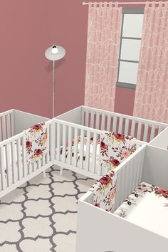Design your nursery in Collaborate with friends, family and the community. It's simple fun and free! Triplets Bedroom, Nursery Twins, Nursery Ideas, Kids Bedroom Designs, Nursery Design, Triplet Babies, Big Three, Toddler Rooms, Baby List