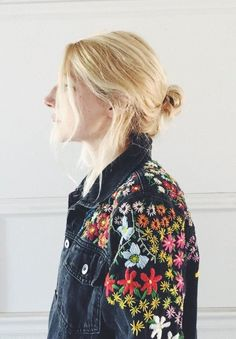jacket, floral, embroidered, street style, vintage