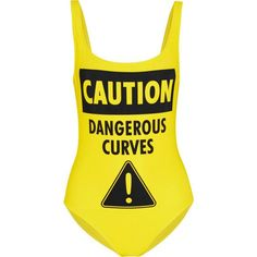 Moschino Caution Dangerous Curves Printed Swimsuit as seen on Jessica Simpson