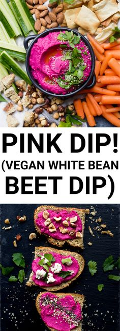 pink dip white bean beet hummus collage