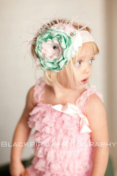 just a mint of pink shabby chic headband by londonraquel on Etsy. (shouldve known.. etsy=love.)