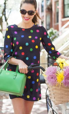 Multi-colored polka dot dress