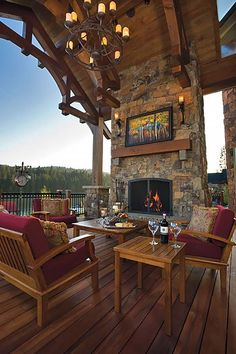 An outdoor fireplace design on your deck, patio or backyard living room instantly makes a perfect place for entertaining, creating a dramatic focal point. Outdoor Rooms, Outdoor Living, Lakeside Living, Outdoor Seating, Backyard Seating, Outdoor Sheds, Outdoor Art, Outdoor Fireplace Designs, Fireplace Outdoor