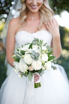 Classic Vineyard Wedding at Groom's Family Winery, Classic White Bouquet with Greenery