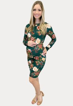 Floral Scoop Back Maternity Dress - Sexy Mama Maternity This floral scoop back maternity dress is a must have for all of you floral-loving mamas! The perfect long sleeve addition to your wardrobe. This dress features a scoop back and body-hugging fit. Made with ultra-stretch fabric, the perfect blend of comfort and style and part of our Sexy Mama lightweight collection. Designed for wear throughout all nine months of pregnancy and beyond!