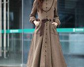 Abrigo de camello manga larga lana gran barrido Maxi lana abrigo largo vestido de chaqueta de abrigo para las mujeres/Fast Shipping - NC202