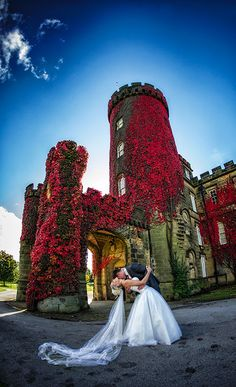 Swinton Park Image of Bride and Groom infront of the reception Turret September , fall colours , fall wedding, autumn wedding Autumn Wedding, Elegant Wedding, Event Venues, Wedding Venues, Park Weddings, Wedding Images, Dress Ideas, Yorkshire, Photo Ideas