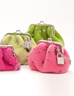 Putting on the Glitz! None Sparkle and Change Purse Knitting Kit with lock and key!