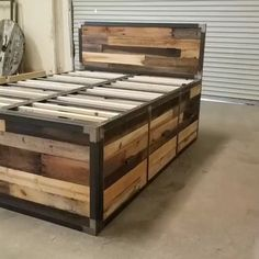 This hand-built industrial design platform storage bed features reclaimed wood a.Thanks for this post.This hand-built industrial design platform storage bed features reclaimed wood and is wrapped in steel. Comes with 6 large# bed Pallet Furniture Bed, Diy Pallet Bed, Diy Garden Furniture, Diy Furniture Projects, Diy Pallet Projects, Wood Projects, Outdoor Furniture, Homemade Furniture, Pallet Wood Bed Frame
