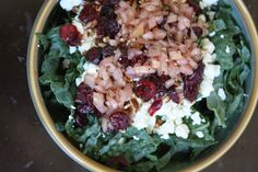 Kale Salad with Feta, Pecans, Cranberries and Pickled Onion Dressing