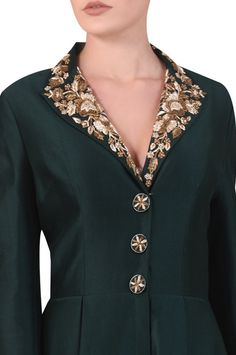 Shop Samant Chauhan Embroidered Collared Gown , Exclusive Indian Designer Latest Collections Available at Aza Fashions Salwar Neck Designs, Neck Designs For Suits, Neckline Designs, Kurta Designs Women, Dress Neck Designs, Collar Designs, Salwar Neck Patterns, Simple Kurti Designs, Stylish Dress Designs