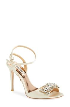 Badgley Mischka 'Amanda' Crystal Brooch Ankle Strap Sandal (Women) available at #Nordstrom