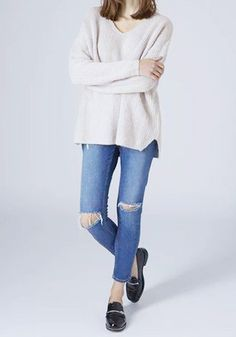 d21bc090 Slouchy V Neck Sweater Ripped Denim, Skinny Jeans, Real Style, Stylish Girl,