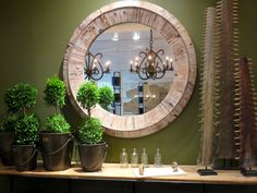 Round Reclaimed Wood Wall Mirror - http://www.hudsongoodsblog.com/round-reclaimed-wood-wall-mirror/