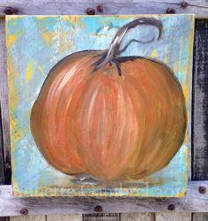 Original pumpkin painting on reclaimed wood Folk art rustic decor wall art by artist Annette Gambrel
