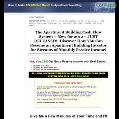 Discover The Secrets To Investing In Apartment Buildings With No Cash And No Credit. This Complete Course Includes Everything You Need To Get Started Making A Cash Flow Of $24,000 Or More Per Month Within 90 Days! Only Course Of Its Kind Anywhere! See more! : http://get-now.natantoday.com/lp.php?target=recashflow