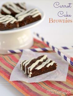 Carrot Cake Brownies by www.crazyforcrust.com | A rich chocolate brownie with the flavors of Carrot Cake! #carrotcake #brownie