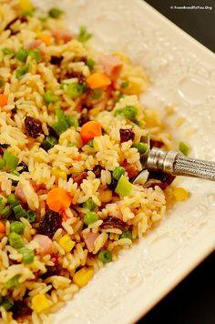 Greek Rice Arroz à Grega) --- Rice with assorted vegetables, raisins, and cubed ham... So easy and delicious. A complete meal!  #rice #ham #vegetables #easy