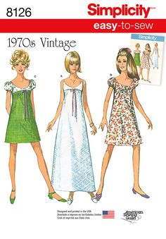 How fab are these 1970s style dresses! Create with babydoll puff sleeves in a mini or maxi length. #Simplicity #sewing #pattern 8126