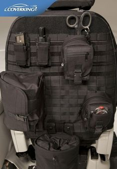 MOLLE Seat Back Organizer. Might work on the back of my passenger seat in my Slingshot. (Cover king)