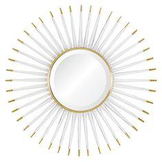 Acrylic & Brass Sunburst Mirror