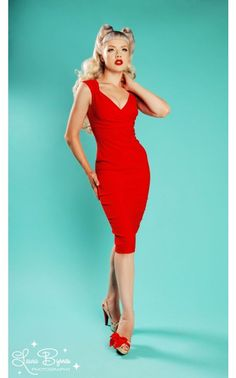 Erin Wiggle Dress in Red - Pinup Couture - House Brands | Pinup Girl Clothing