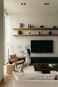 Apartment Interior Design, Interior Exterior, Living Room Interior, Home Living Room, Living Room Designs, Tv Living Rooms, Minimalist Interior, Wabi Sabi, Interiores Design