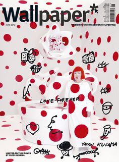 Got to love this limited edition cover of Wallpaper* magazine, designed by Japanese artist Yayoi Kusama. In it, she is stood next to one of her favourite works, With All My Love For The Tulips, I Pray. Yayoi Kusama, Wallpaper Uk, Wallpaper Magazine, Magazine Wall, Magazine Stand, Design Editorial, Editorial Layout, Magazine Cover Design, Magazine Covers