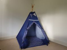 Navy and white teepee tent FREE BUNTING/ play tent for kids/ wigwam for boys / tipi for children by TeepeeTotsIE on Etsy