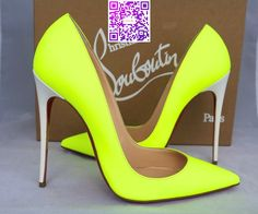 a566c1e96957 CHRISTIAN LOUBOUTIN BICOLOR FLUO YELLOW LEATHER SO KATE 120 PUMPS SHOES Yellow  Pumps