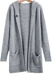 Light Grey Long Sleeve Pockets Knit Sweater