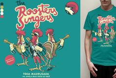 Estampa 'The Roosters Singers' no Camiseteria. Autoria de Camila Matos.
