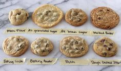 Ever wondered why cookies can be chewy crisp soft flat thick moist or crumbly? Use this as a guide to make perfect cookies based on your personal preference!.