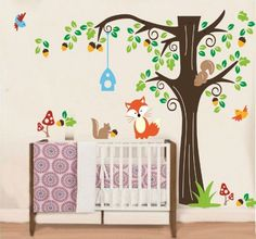 Removable Vinyl Nursery Wall Decal Tree Wall Art Animal Wall Sticker - Forest Animals by CustomWallDecal