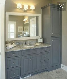 Traditional Bathroom Design, Pictures, Remodel, Decor and Ideas - page Relocate linen cabinet. Add slim pullout cabinet (w/electrical sockets for blow dryer, etc. Adjust countertop for double sinks. Maybe 4 drawers instead of Dream vanity! Upstairs Bathrooms, Laundry In Bathroom, Linen Cabinet In Bathroom, Bathroom Closet, Small Bathroom Cabinets, Restroom Cabinets, Small Master Bathroom Ideas, Bathroom Remodel Small, Linen Cupboard