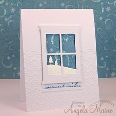 Christmas Card Challenge for May 2014 by Sue aka stampinspooky; make a card using snow, it can be snowflakes, snow covered trees, a snowman just as long as there is snow on the card.