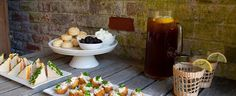 "Southern Style Tea Party! Menu: Pimiento Cheese, Tomato & Chive finger sandwiches, Brown Sugar ""Shortbreads"" with smashed blackberries & cream, and hush puppy and deviled crab bites"