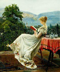 On the terrace  by Johann Hamza born 1850 in Telč, Austria-Hungary (now Czech Republic) died 1927 in Vienna, Austria
