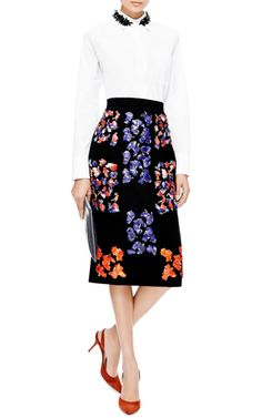 Cam Embellished Wool-Crepe Skirt by Peter Pilotto