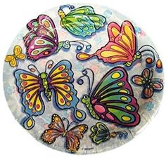 """Amazon.com: Custom & Unique {7"""" Inch} 8 Count Multi-Pack Set of Medium Size Round Circle Disposable Paper Plates w/ Cute Girly Cartoon Butterflies Birthday Party """"White, Yellow, Blue, Pink & Green Colored"""": Kitchen & Dining"""
