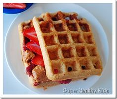 I always have homemade waffles in the freezer... They are whole wheat with flax and cinnamon  and would make a perfect bread.  My football playing boys will love this sandwich before practice.