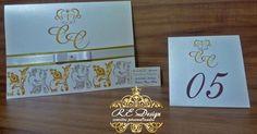 Convites de casamento dourado e prata