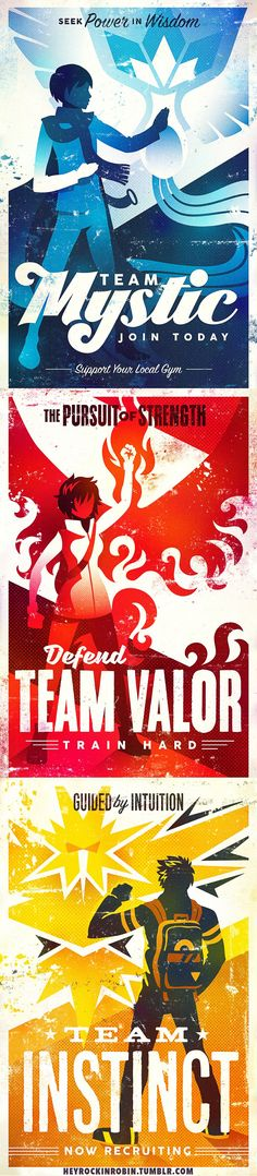 Which Pokemon Go team do you support? $15 Team Valor, Mystic and Instinct posters! #pokemongoteams