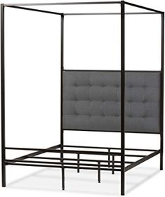 baxton studio lela vintage industrial finished metal canopy bed queen black